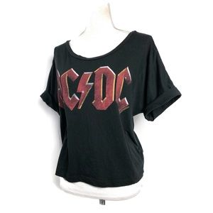 AC/DC graphic tee black cropped